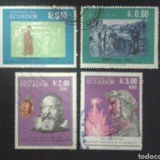 Selos: SELLOS DE ECUADOR. YVERT 760/1 + A-462/3. SERIE COMPLETA USADA. DANTE. GALILEO.. Lote 68327894