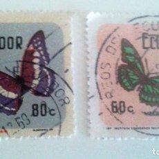 Sellos: ECUADOR 1970 -MARIPOSAS (2 SELLOS). Lote 90747310