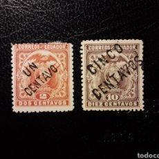 Sellos: ECUADOR. YVERT 125/6. SERIE COMPLETA NUEVA CON CHARNELA. ESCUDOS. SOBRECARGADOS. Lote 134455095
