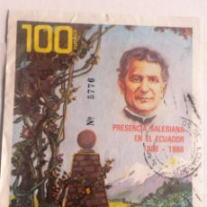 Sellos: ECUADOR, HOJA BLOQUE, 1998, CENTENARIO SALESIANOS EN ECUADOR.USADO . Lote 143021578