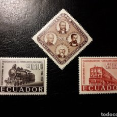 Sellos: ECUADOR. YVERT 641/3 SERIE COMPLETA NUEVA CON CHARNELA. TRENES.. Lote 151302052