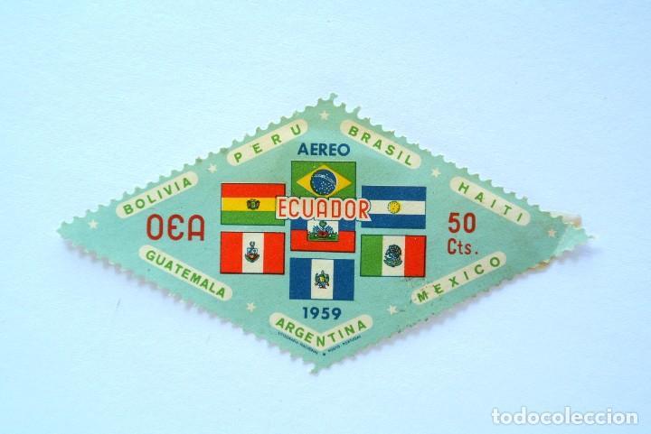 SELLO POSTAL ECUADOR 1959, 50 CTS , BANDERAS MIEMBROS DE LOS ESTADOS OEA, SIN USAR (Sellos - Extranjero - América - Ecuador)