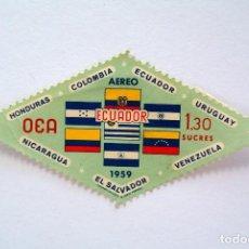 Sellos: SELLO POSTAL ECUADOR 1959, 1,30 S/., BANDERAS ESTADOS MIEMBROS OEA, CORREO AÉREO, SIN USAR. Lote 155191402