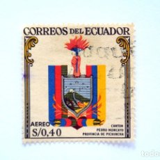 Sellos: ANTIGUO SELLO POSTAL ECUADOR 1960, 0,40 S/,ESCUDO CANTON PEDRO MONCAYO, PROVINCIA DE PICHINCHA,USADO. Lote 155192642