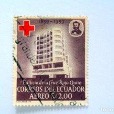 Sellos: SELLO POSTAL ECUADOR 1960, 2 S/, EDIFICIO DE LA CRUZ ROJA QUITO, CORREO AÉREO, USADO. Lote 155195010