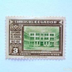 Sellos: SELLO POSTAL ECUADOR 1942, 3 S/., COLEGIO MILITAR , CENTENARIO DON ELOY ALFARO, SIN USAR. Lote 155199430