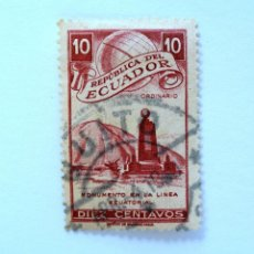 Sellos: SELLO POSTAL ECUADOR 1949, 10 C., MONUMENTO EN LA LINEA ECUATORIAL, USADO. Lote 155200534