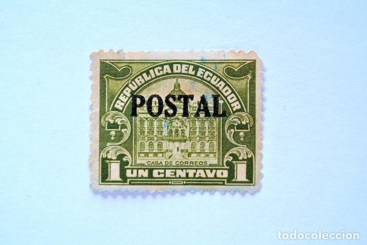 SELLO POSTAL ECUADOR 1927, 1 C., CASA DE CORREOS OVERPRINT EN NEGRO, USADO (Sellos - Extranjero - América - Ecuador)