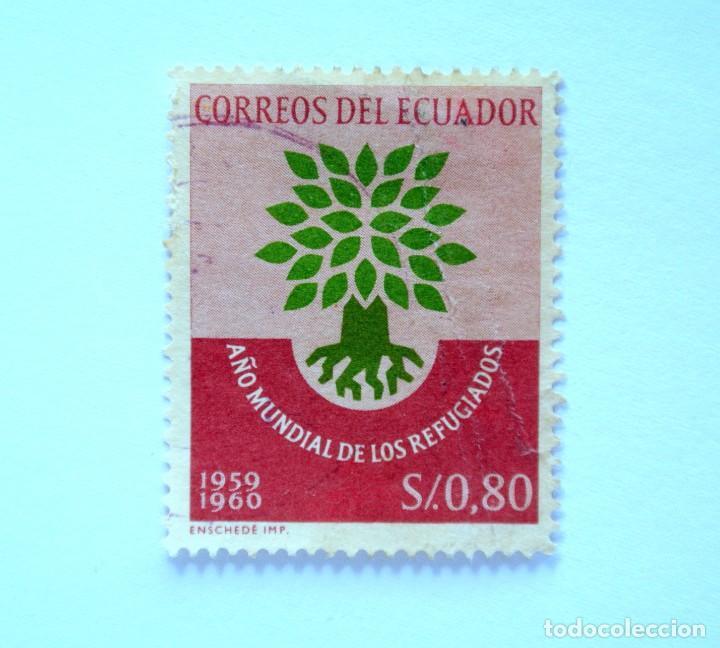 SELLO POSTAL ECUADOR 1960, 0,80 S/., AÑO MUNDIAL DE LOS REFUGIADOS , USADO (Sellos - Extranjero - América - Ecuador)
