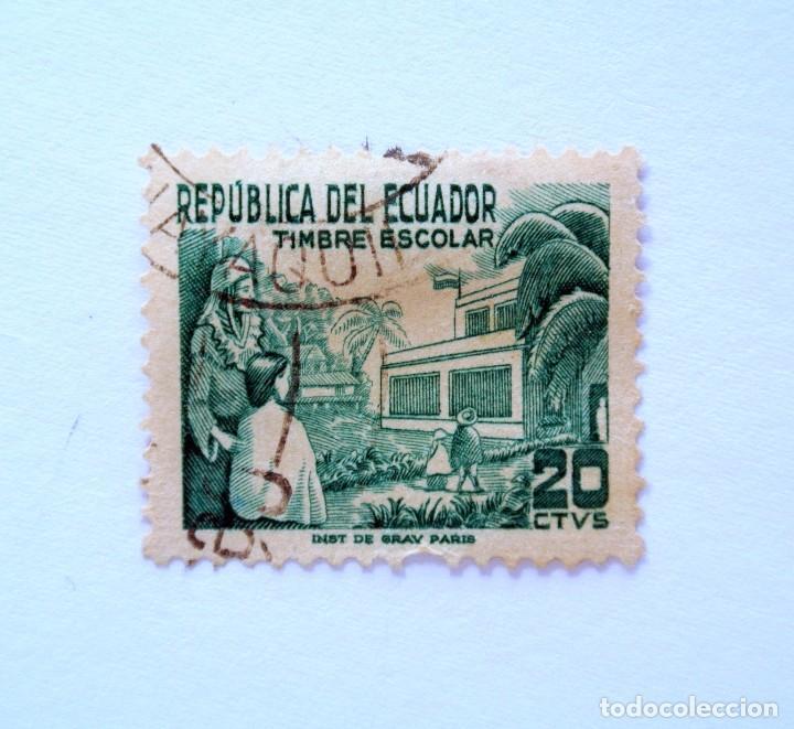 SELLO POSTAL ECUADOR 1952, 20 CTVS., TIMBRE ESCOLAR , USADO (Sellos - Extranjero - América - Ecuador)