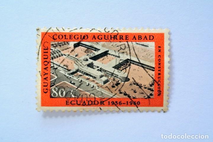 SELLO POSTAL ECUADOR 1960, 80 CTVS., COLEGIO AGUIRRE ABAD , GUAYAQUIL 1956-1960 , USADO (Sellos - Extranjero - América - Ecuador)