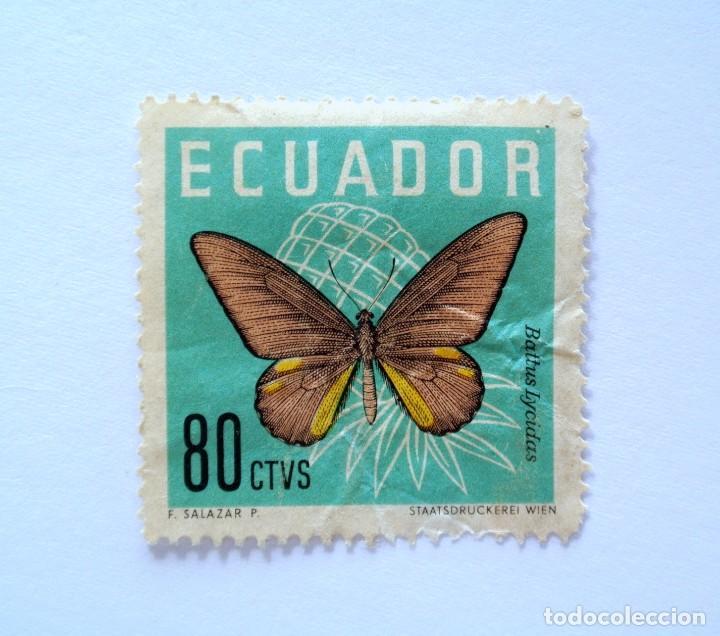 SELLO POSTAL ECUADOR 1961, 80 CTS., BATTUS LYCIDAS ,MARIPOSA COLA DE GOLONDRINA, USADO (Sellos - Extranjero - América - Ecuador)