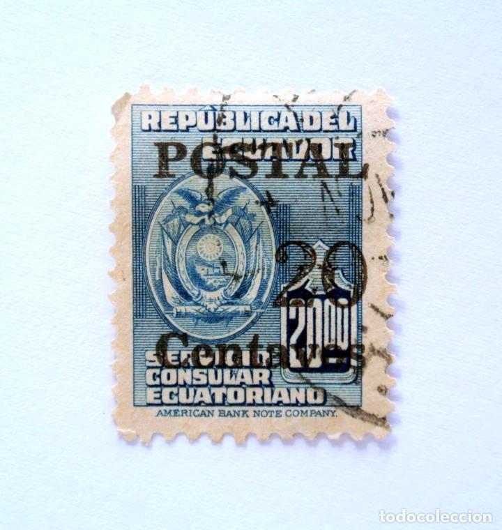 SELLO POSTAL ECUADOR 1952, 20 CTVS, SERVICIO CONSULAR ECUATORIANO OVERPRINT EN NEGRO , USADO (Sellos - Extranjero - América - Ecuador)