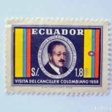 Sellos: SELLO POSTAL ECUADOR 1958, 1,80 S/., VISITA DEL CANCILLER COMOMBIANO CARLOS SANZ, SIN USAR. Lote 155517810