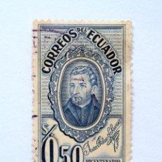 Sellos: SELLO POSTAL ECUADOR 1955, 0,50 S/. , BICENTENARIO DE LA IMPRENTA 1755-1955, USADO. Lote 155544742