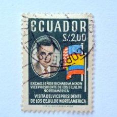 Sellos: SELLO POSTAL ECUADOR 1958, 2 S/., VISITA DEL VICEPRESIDENTE DE E.E.U.U. RICHARD M. NIXON, USADO. Lote 155545178