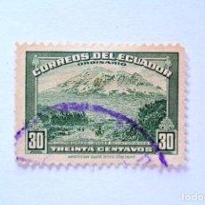 Sellos: SELLO POSTAL ECUADOR 1947 , 30 CTVS . MONTE CHIMBORAZO, USADO. Lote 155560562