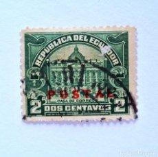 Sellos: SELLO POSTAL ECUADOR 1929, 2 CTVS ,CASA DE CORREOS, OVERPRINT EN ROJO, USADO. Lote 155581874