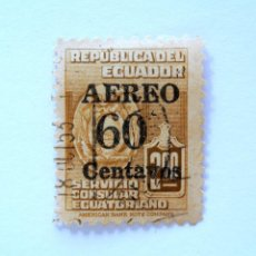 Sellos: SELLO POSTAL ECUADOR 1953, 60 CTVS , SERVICIO CONSULAR ECUATORIANO , OVERPRINT EN NEGRO, USADO. Lote 155584982