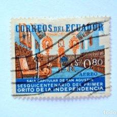 Sellos: SELLO POSTAL ECUADOR 1959, 0,80 S/. SALA CAPITULAR DE SAN AGUSTIN, USADO. Lote 155588262