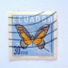 Sellos: SELLO POSTAL ECUADOR 1961, 30 CTVS . PAPILIO TORQUATUS LEPTALEA, USADO. Lote 155589782