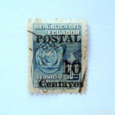 Sellos: SELLO POSTAL ECUADOR 1952, 10 CTVS ,SERVICIO CONSULAR ECUATORIANO, OVERPRINT EN NEGRO, USADO. Lote 156784930