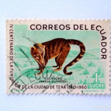 Sellos: SELLO POSTAL ECUADOR 1961, 1 S/. ,IV CENTENARIO DE LA FUNDACION DE TENA, CUCHUCHO, USADO. Lote 156787758
