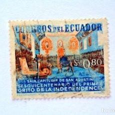 Sellos: SELLO POSTAL ECUADOR 1959, 0,80 S/. SALA CAPITULAR DE SAN AGUSTIN, USADO. Lote 156788170
