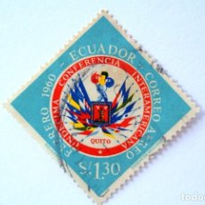 Sellos: SELLO POSTAL ECUADOR 1960, 1,30 S/. UNDECIMA CONFERENCIA INTERAMERICANA, USADO. Lote 156788450