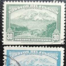 Sellos: 1942. ECUADOR. 405, 406 Y 406-A. VOLCÁN CHIMBORAZO. USADO.. Lote 178583232