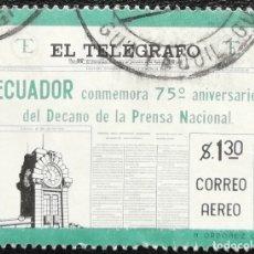 Sellos: 1959. ECUADOR. A 342. 75 ANIV. PRENSA ECUATORIANA. DIARIO 'EL TELÉGRAFO'. SERIE COMPLETA. USADO. . Lote 178583912