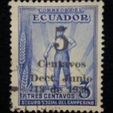 Sellos: CORREO ECUADOR, 3 CENTAVOS, SEGURO SOCIAL , 1936.. Lote 180130422