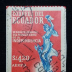 Sellos: CORREO ECUADOR, S,4,20, INDEPENDENCIA, 1950.. Lote 180131402