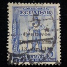 Sellos: CORREO ECUADOR, 3 CENTS, SEGURIDAD SOCIAL CAMPESINO,1936.. Lote 180132531