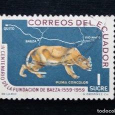 Sellos: CORREO ECUADOR, 1 SUCRE, PUMA CONCOLOR,1960.. Lote 180132656