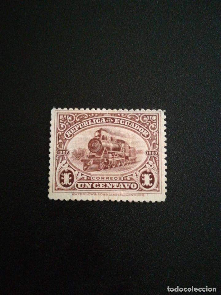 SELLO ANTIGUO ECUADOR 1907 TEMA TRENES (Sellos - Extranjero - América - Ecuador)