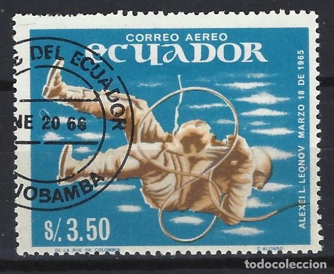 ECUADOR 1966 - LOGROS DE LA EXPLORACIÓN ESPACIAL, AÉREO - SELLO USADO (Sellos - Extranjero - América - Ecuador)