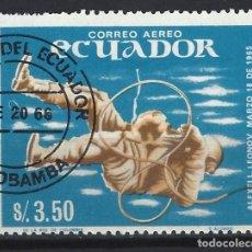 Sellos: ECUADOR 1966 - LOGROS DE LA EXPLORACIÓN ESPACIAL, AÉREO - SELLO USADO. Lote 185916125