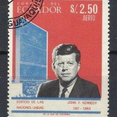 Sellos: ECUADOR 1966 - J.F. KENNEDY, AÉREO - SELLO USADO. Lote 185916482