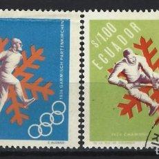 Selos: ECUADOR 1966 - JJOO DE INVIERNO EN GRENOBLE, FRANCIA, S.COMPLETA - SELLOS USADOS. Lote 185916727