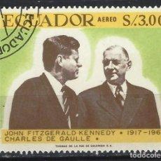 Sellos: ECUADOR 1967 - 50 ANIVERSARIO NACIMIENTO DE J.F.KENNEDY, AÉREO - SELLO USADO. Lote 185919366
