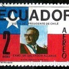 Sellos: ECUADOR SCOTT: C481-(1971) (CORREO AEREO) (SALVADOR ALLENDE) USADO. Lote 189570128