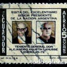 Sellos: ECUADOR SCOTT: C492-(1972) (CORREO AEREO) (PRESIDENTES: VELASCO IBARRA Y LANUSSE) USADO. Lote 189570433