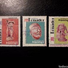 Selos: ECUADOR. YVERT 1228/30 SERIE COMPLETA USADA. EL 1230 DIENTE CORTO NO CONTADO. ARQUEOLOGÍA.. Lote 198379682