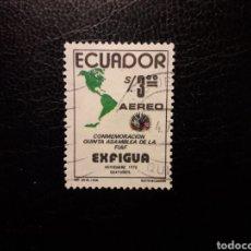 Sellos: ECUADOR. YVERT A-582 SERIE COMPLETA USADA. ASAMBLEA DE LA FIAF. MAPAS. Lote 199177091
