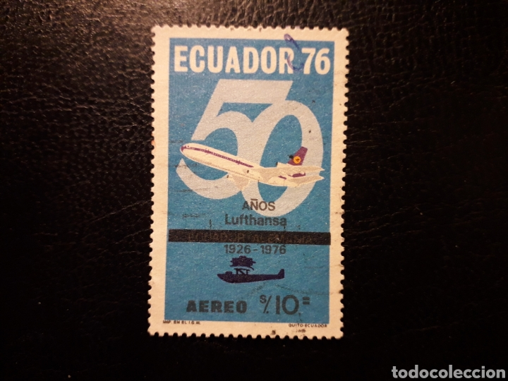 ECUADOR. YVERT A-617 SERIE COMPLETA USADA. AVIONES. AVIACIÓN. 50 AÑOS DE LUFHANSA (Sellos - Extranjero - América - Ecuador)