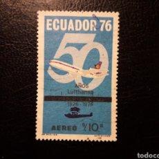 Sellos: ECUADOR. YVERT A-617 SERIE COMPLETA USADA. AVIONES. AVIACIÓN. 50 AÑOS DE LUFHANSA. Lote 199177311