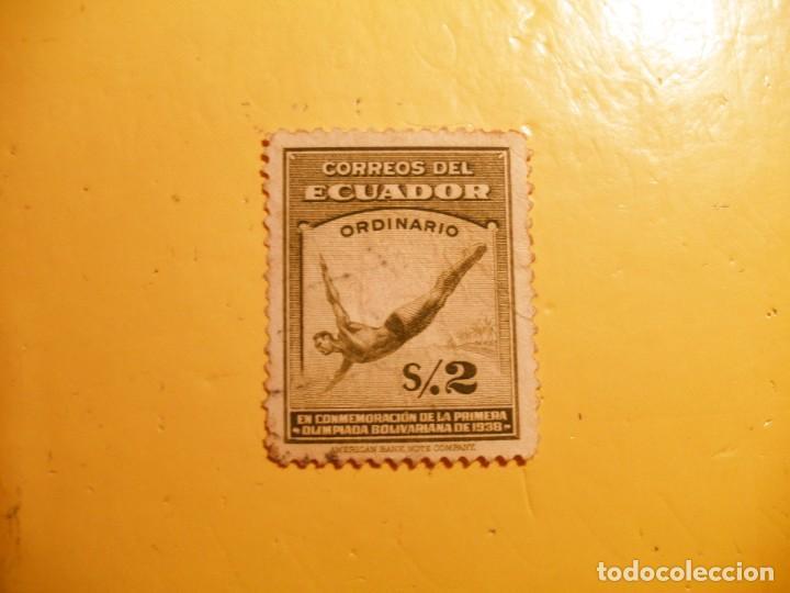 ECUADOR - PRIMERA OLIMPIADA BOLIVARIA NA DE 1938 - SALTO TRAMPOLIN. (Sellos - Extranjero - América - Ecuador)