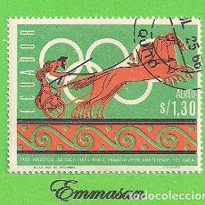 Sellos: ECUADOR - MICHEL 1265 - YVERT PA460 - HISTORIA DE LOS JUEGOS OLÍMPICOS. (1966). NUEVO MATASELLADO.. Lote 206243447
