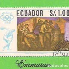 Sellos: ECUADOR - MICHEL 1314 - YVERT 776 - JUEGOS OLÍMPICOS - PINTORES MEJICANOS (1967). NUEVO MATASELLADO. Lote 206244755